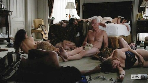 sex scenes ~ Mad Men  #madmen #rogersterling #sexscenes #acid #television #amc #sex #bacchanal