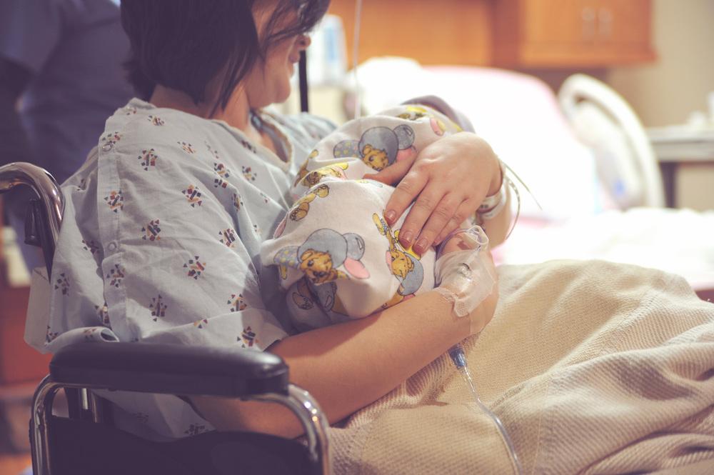 mom baby  newborn hospital photography