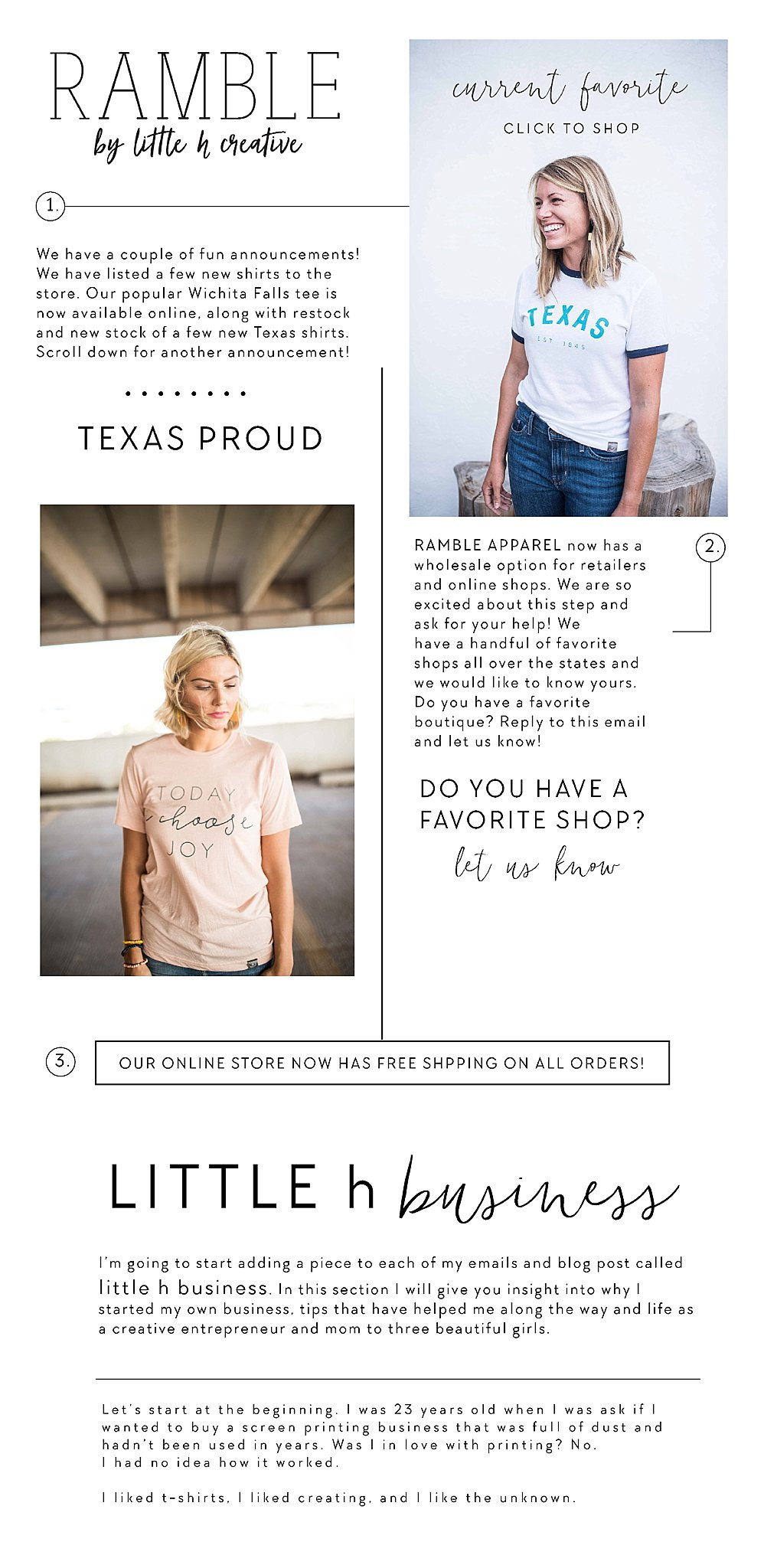 ramble apparel news || little h business talk and new texas proud apparel. Hand printed apparel in North Texas.