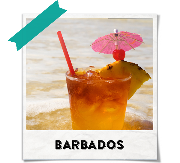 "Barbados is known as the rum island and is famous for its rum punches. Punch comes from the Indian word ""panch"" which means five. The five refers to the five ingredients of sour, sweet, strong, weak and spice. The poem for rum punch goes: One of sour, two of sweet, three of strong and four of weak, a dash of bitters and a sprinkle of spice, serves well chilled with plenty of ice."