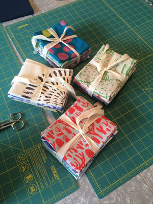 hand printed fat quarters.