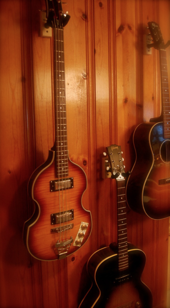 Guitars: I have a Gibson L-00 & Es-125, Epihone Viola Bass, George Washburn Master Classic,  small body Takamine, and a 70's Yamaha acoustic that is not without its charm.