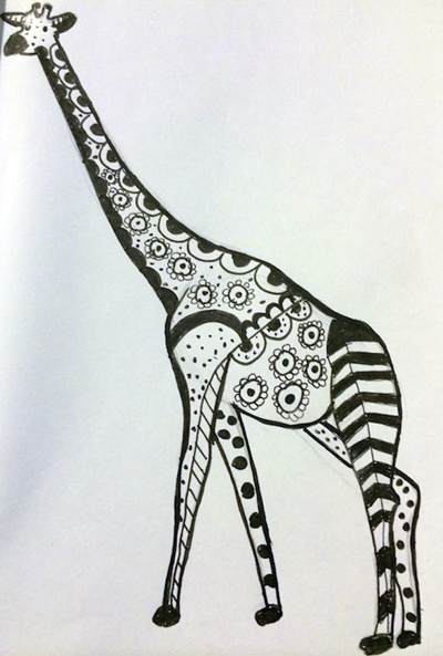 Giraffe Zentangle, by Melissa Black