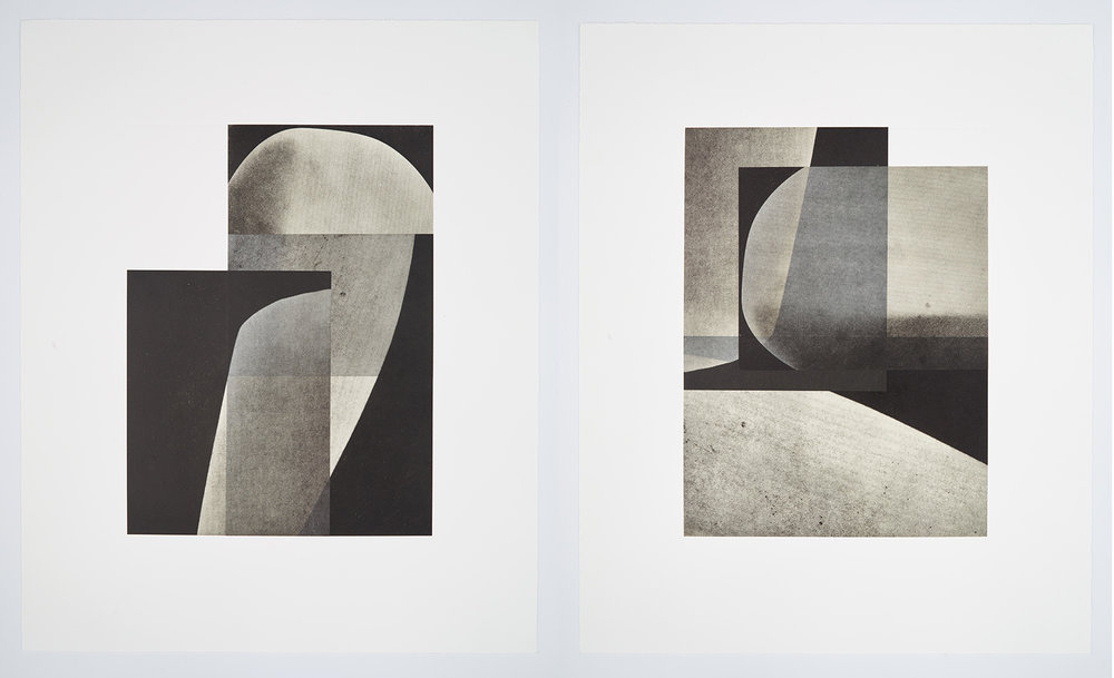 Erin Shirreff, Figure 2 (II), 2016, Photogravure and chine-collé, 25 ¼ x 19 ¾ inches each, pair of prints, Edition of 24