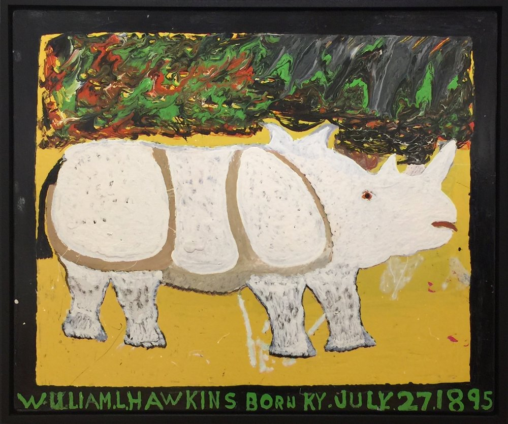 William Hawkins, Rhinoceros, 1983, Enamel on masonite, 40 x 48 inches