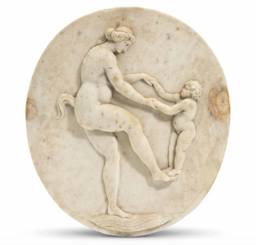 Flemish, Female Satyr and Child, Early 17th Century,  White marble relief,  12 3/4 x 11 1/2 inches, Estimate: $5,000 - 8,000