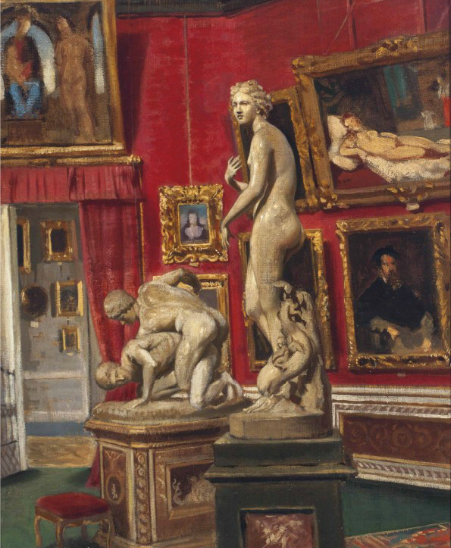 Italian School, The Gallery in the Pitti Palace, Florence, 19th Century, Oil on canvas, 19 x 14 1/2 inches, Estimate: $1,500 - 2,000