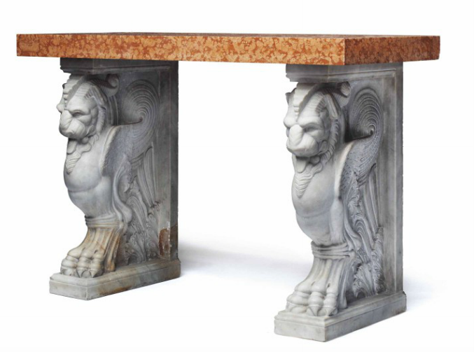 Italian Marble Console Table, 19th Century, 36 3/4 x 54 3/4 x 23 inches, Estimate: $10,000 - 15,000