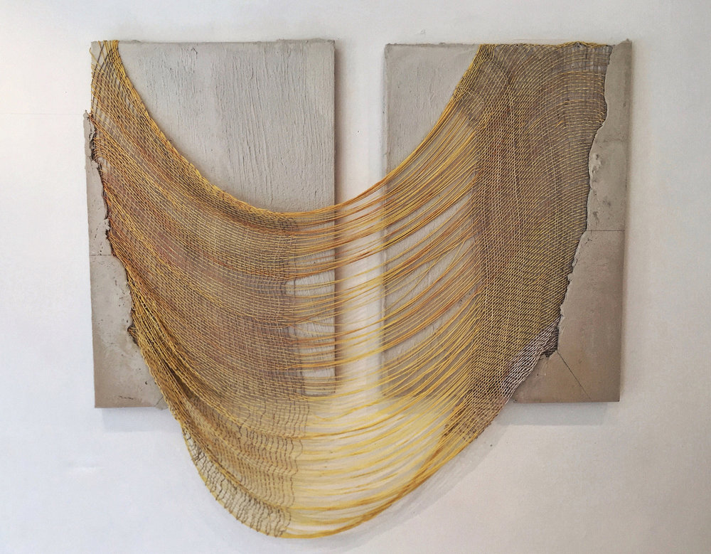 Alexa Williams and Crystal Gregory, Eve, 2016, handwoven cotton and concrete, 50 x 54 inches Courtesy of the artists / Photo credit: Alexa Williams
