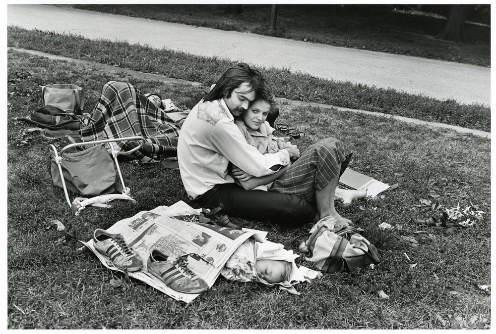 Paul McDonough, Central Park, Couple with Baby in Newspaper, 1973