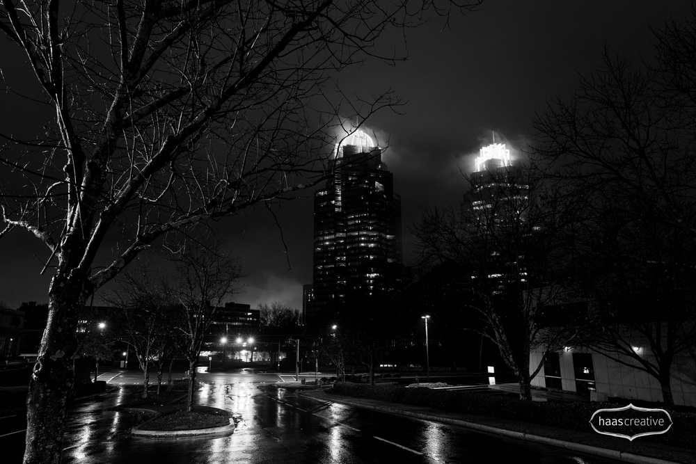 Foggy Winter Urban Night