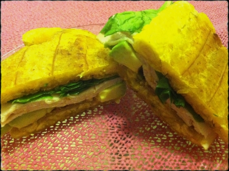 Plantain Sandwich  ^Turkey, spinach, avocado (at night in my kitchen with awful lighting)