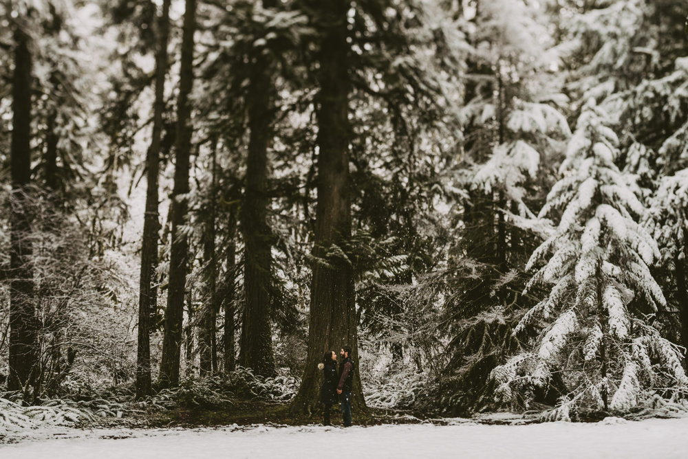 © Isaiah + Taylor Photography - Portland, Oregon Winter Forest Cabin Engagement-14.jpg