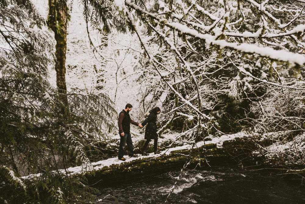 © Isaiah + Taylor Photography - Portland, Oregon Winter Forest Cabin Engagement-17.jpg