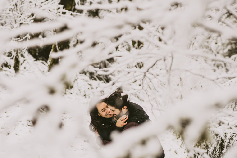 © Isaiah + Taylor Photography - Portland, Oregon Winter Forest Cabin Engagement-20.jpg