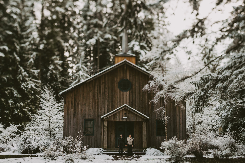 © Isaiah + Taylor Photography - Portland, Oregon Winter Forest Cabin Engagement-34.jpg