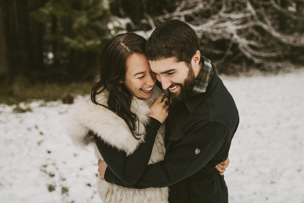 © Isaiah + Taylor Photography - Portland, Oregon Winter Forest Cabin Engagement-38.jpg