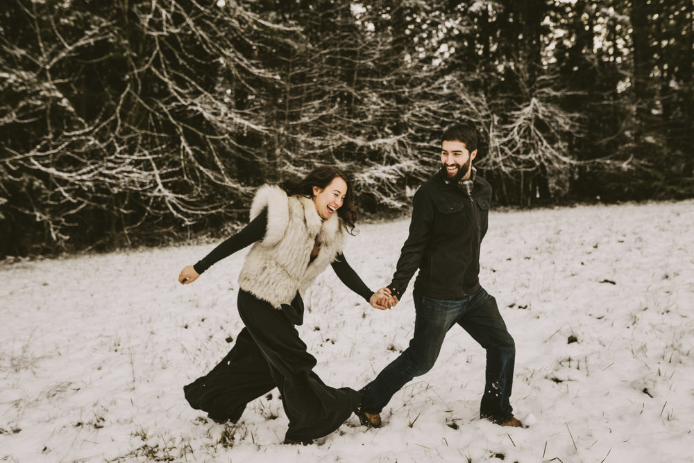 © Isaiah + Taylor Photography - Portland, Oregon Winter Forest Cabin Engagement-39.jpg