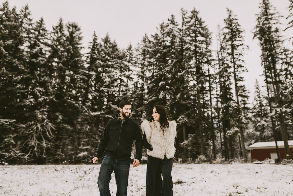 © Isaiah + Taylor Photography - Portland, Oregon Winter Forest Cabin Engagement-41.jpg