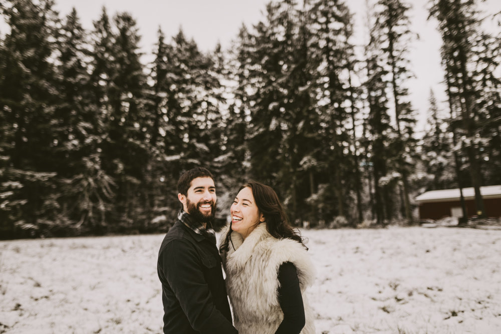 © Isaiah + Taylor Photography - Portland, Oregon Winter Forest Cabin Engagement-42.jpg