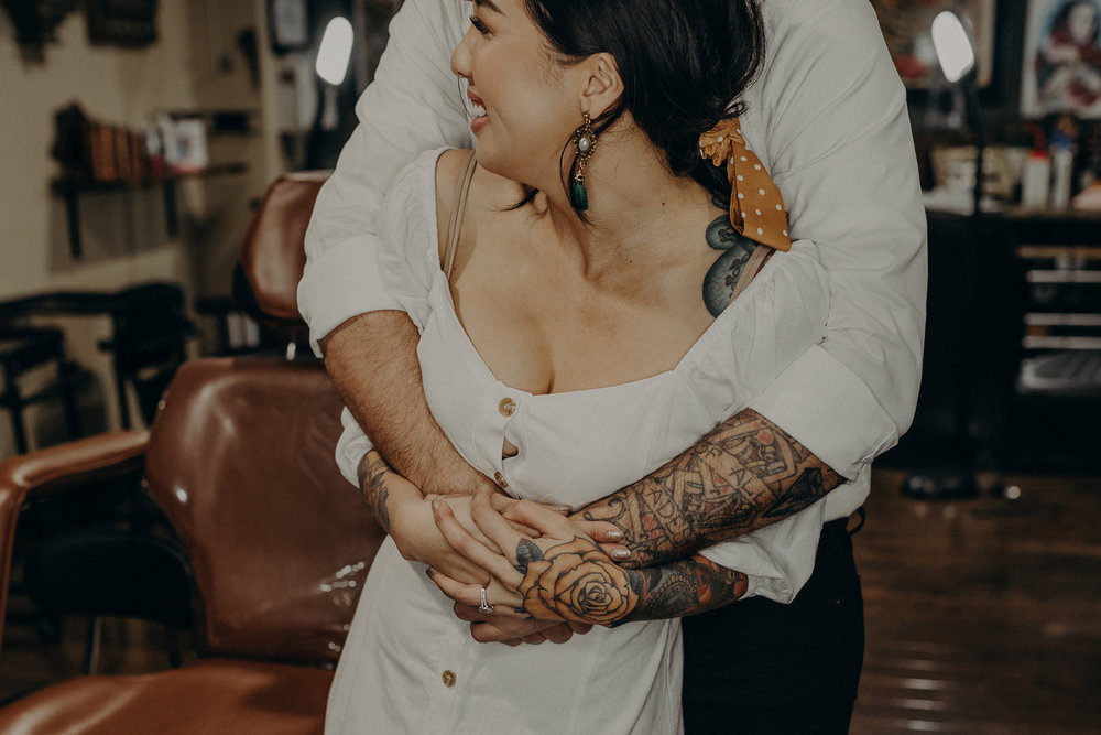 Wedding Photographer in LA - Los Angeles Wedding Photos - Tattoo Shop Engagement Session - IsaiahAndTaylor.com-018.jpg