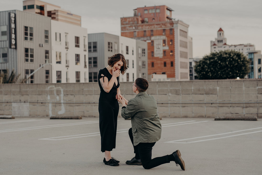 surprise rooftop proposal - lgbtq wedding photographer in Los Angeles - lesbian engagement session - dtlb wedding