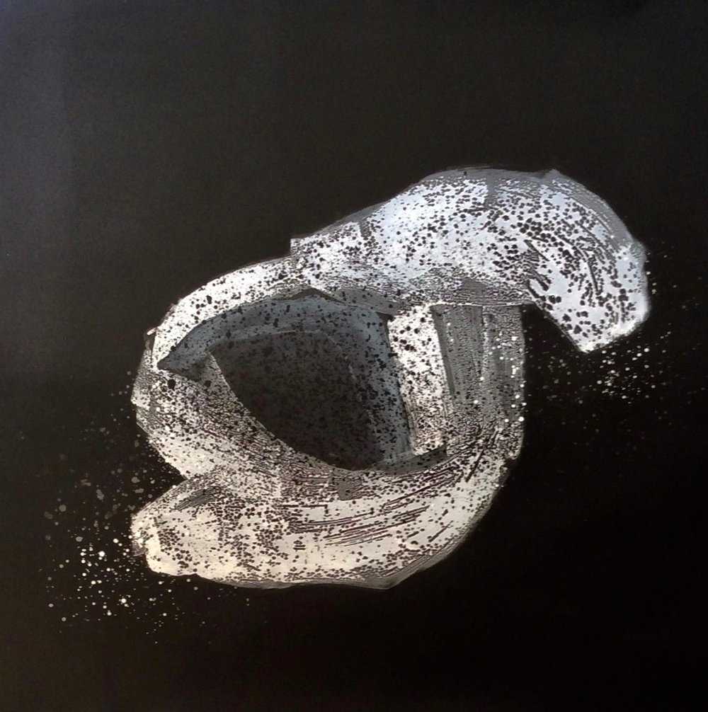 "White Matter hollow shaped, 2018  61 x 61 inches  Close cell 2/8"" black foam"
