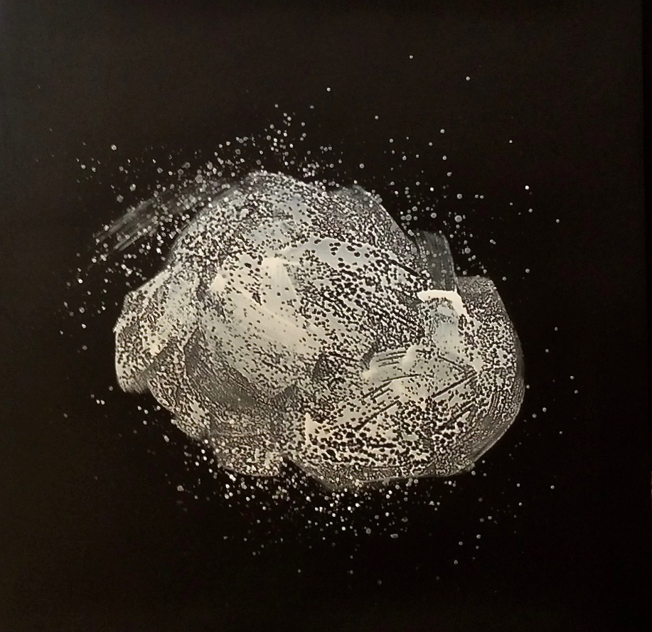 "Space Rock 1, Hundred Million Miles Away, 2018  61 x 61 inches  Acrylic on close cell 2/8"" black foam"