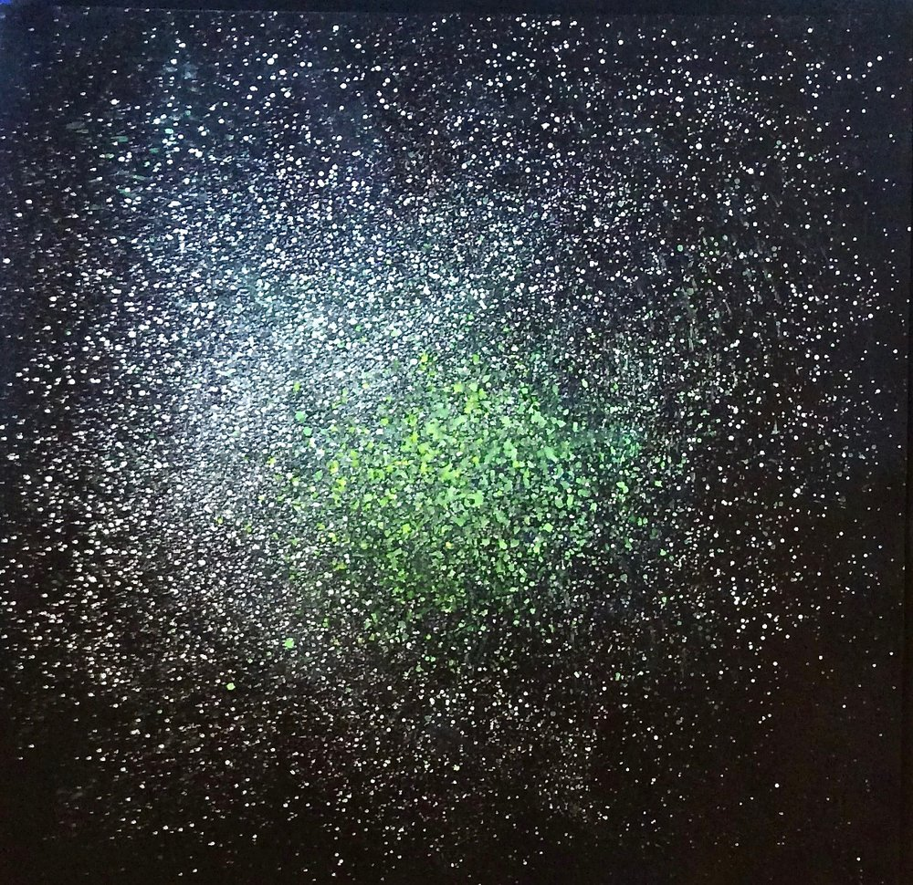 "Green-White Glare, 2018  59 x 61 inches  Close cell 2/8"" black foam"