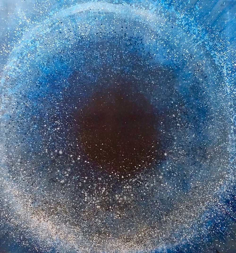 "Cosmic Explosion, 2018  61 x 61 inches  Acrylic on Close cell 2/8"" black foam"