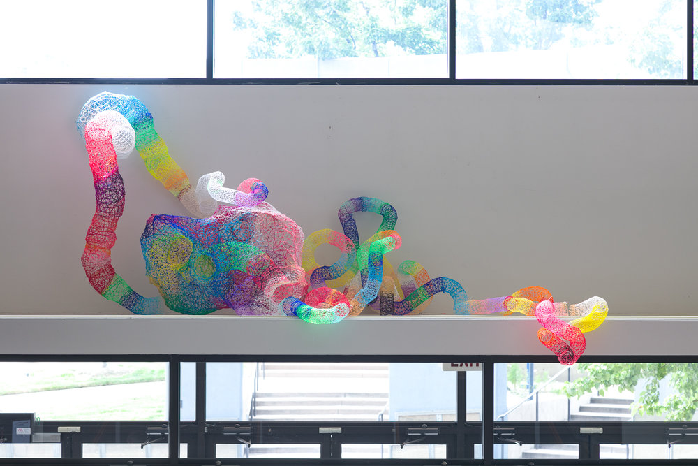 """'Super Wicked' #4 2018, 120"""" x 48"""" x 36"""", ABS Plastic, Nylon - Installed at Arvada Center for the Arts, Colorado."""