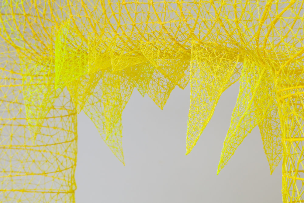 """'Safety Yellow Hellmouth' 2018 [Detail], 48"""" x 48"""" x 13"""", ABS Plastic, Playground Hardware, Plastic Chain."""