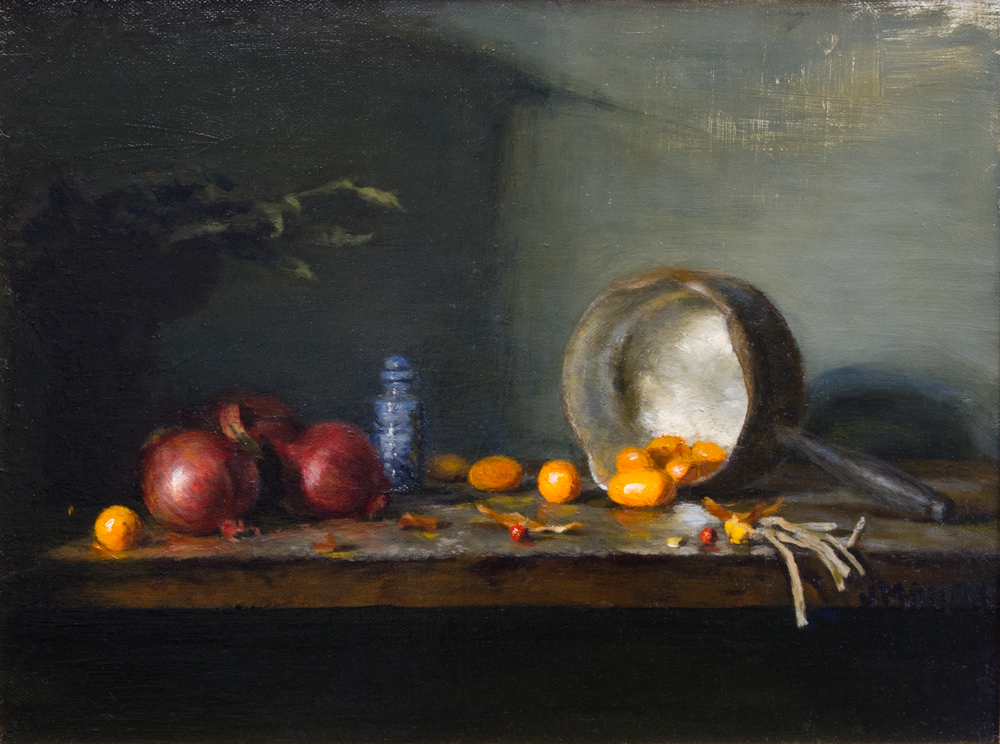 "Kumquats and Red onions: Oil on linen 12"" x 16"""