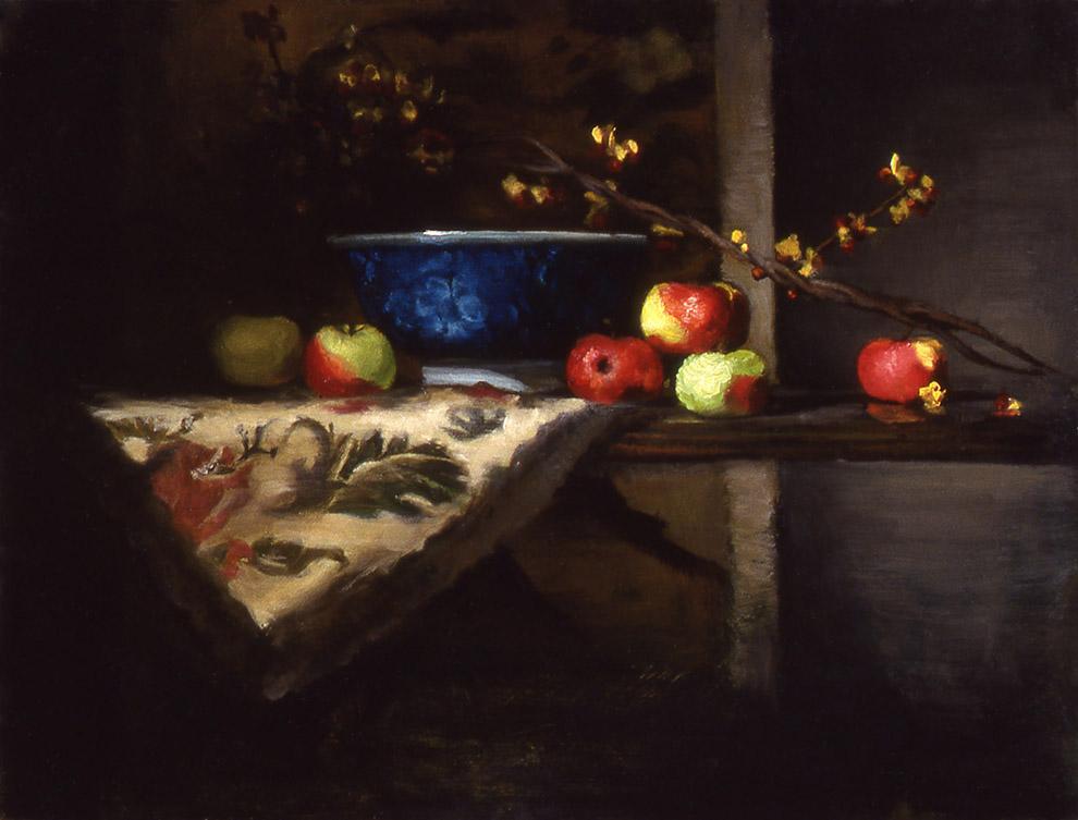 """apples: oil on linen 12"""" x 16"""" (sold)"""