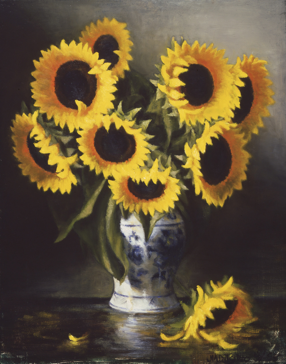 "sunflowers and blue white vase: oil on linen 20"" x 24"" (sold)"