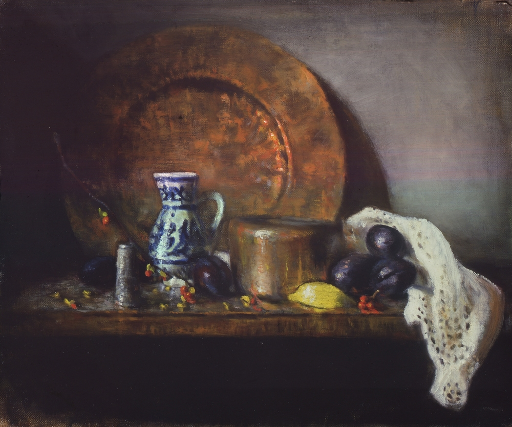 cooper plate and plums: oil on linen