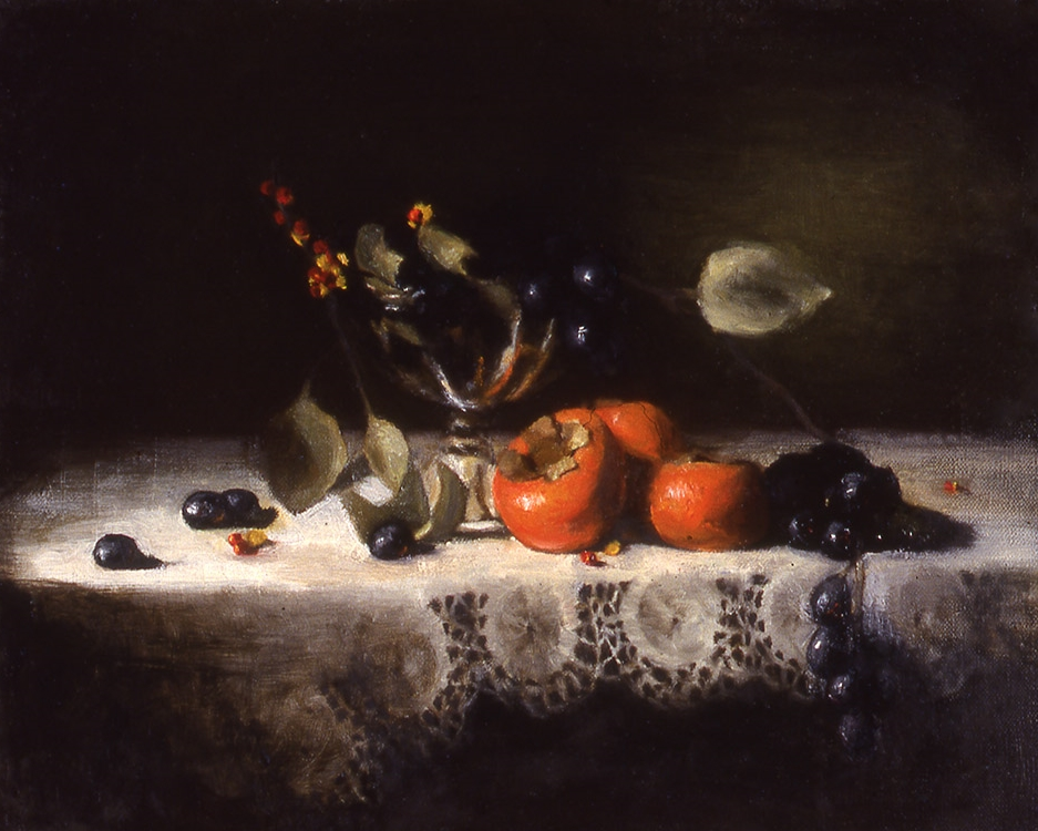 "persimmons: oil on linen 14"" x 18"" (sold)"