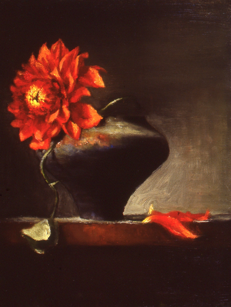"red dahlia: oil on linen 8"" x 10"" (sold)"