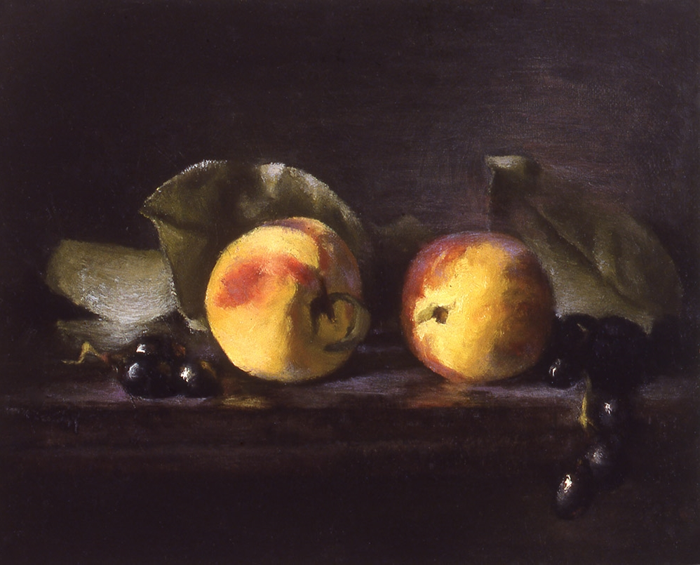 "peaches and black grapes: oil on linen 8"" x 10"" (sold)"
