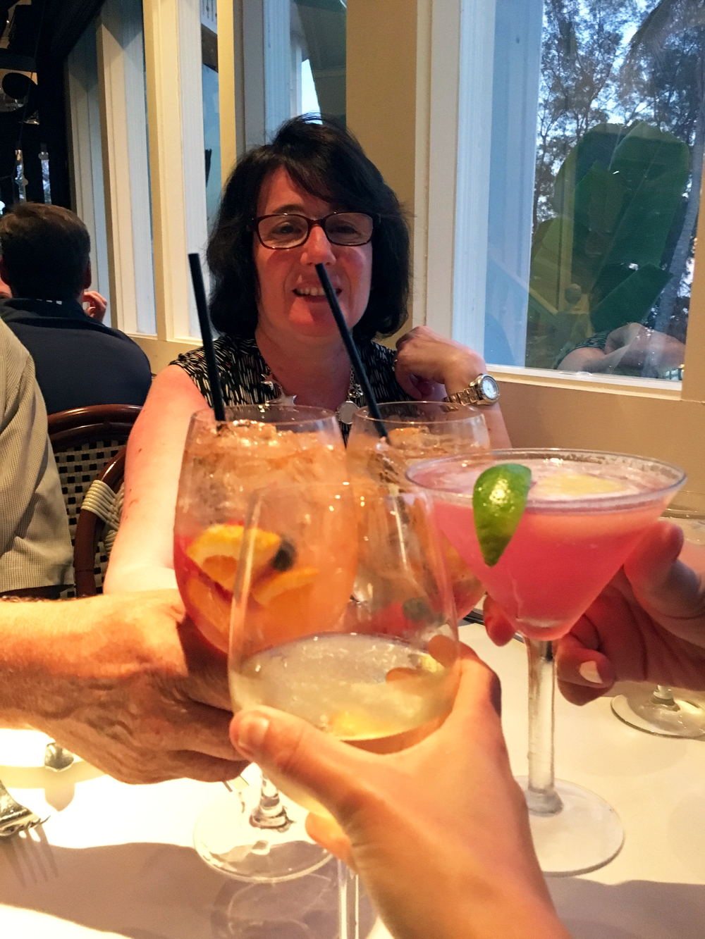 My mom requested that we take photos of us clinking our drinks at almost every meal.