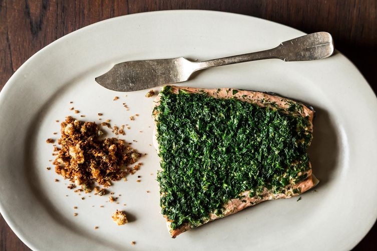 Salmon, Rye, Caper Breadcrumbs