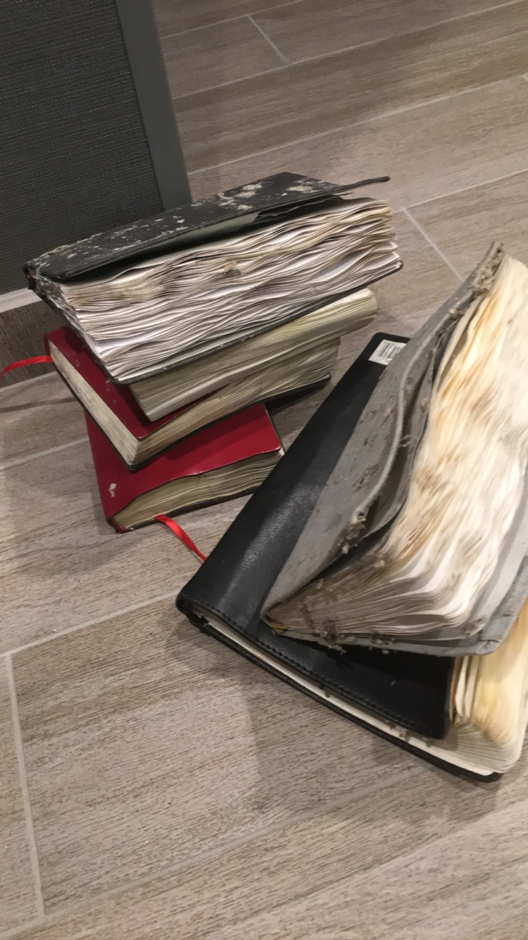 The journals have been dried out and they are all legible! These are the most important items I own. So thankful they were saved.