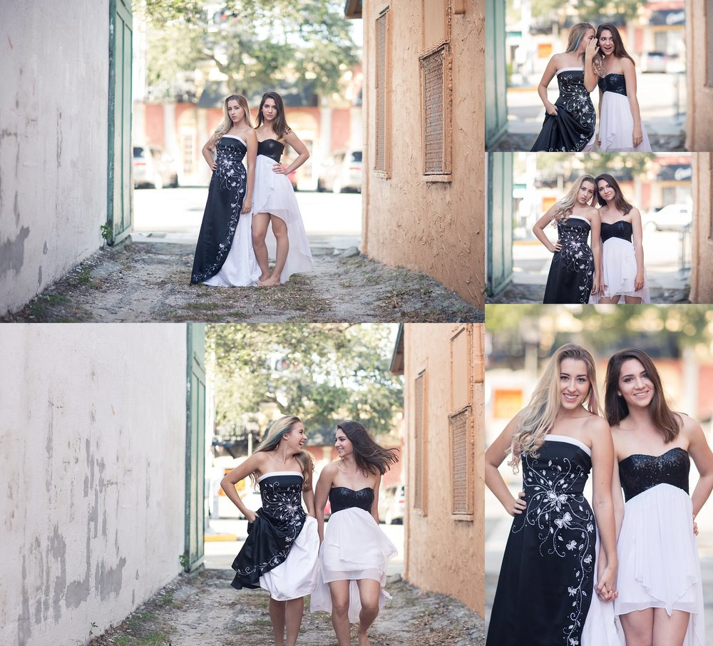 SENIOR PHOTOS WITH FRIENDS | BLACK AND WHITE GOWNS | MELBOURNE FLORIDA | NICHOLE MARIE