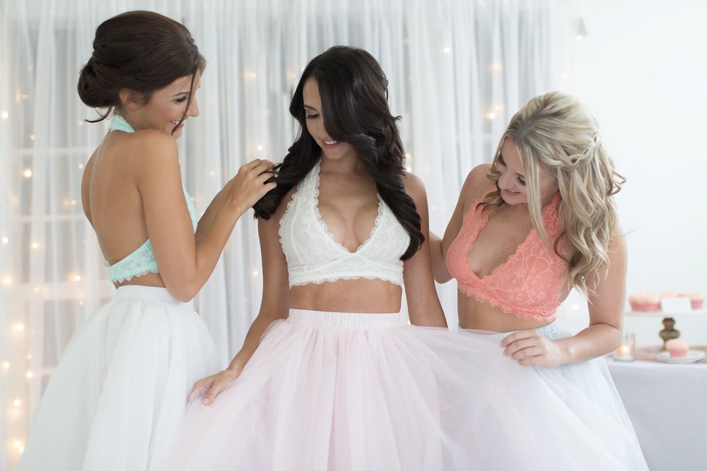 BRIDE AND BRIDESMAIDS IN TULLE SKIRTS AND BRALETTES