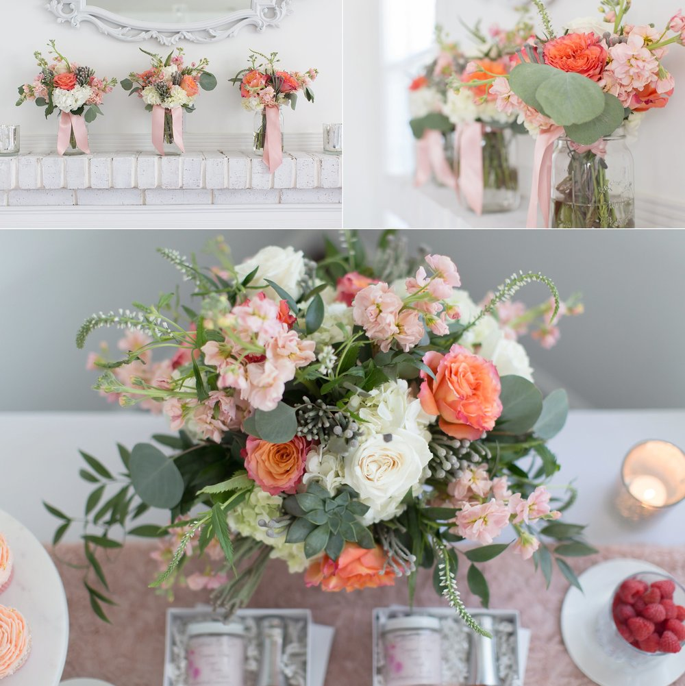 PINK PEACH AND WHITE FLORAL ARRANGEMENT