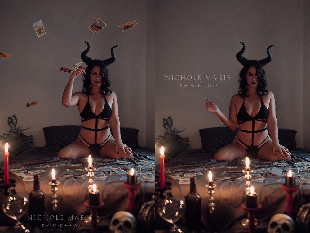 HALLOWEEN THEMED BOUDOIR: WITCHES & TAROT CARDS | SEBASTIAN FLORIDA | NICHOLE MARIE BOUDOIR