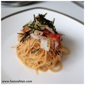 Mentaiko pasta with crabmeat