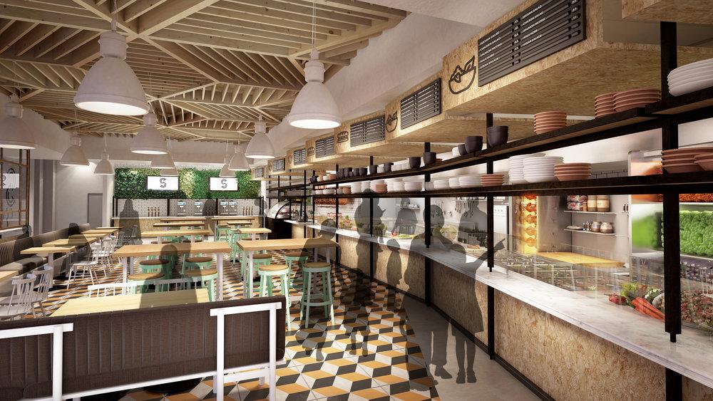 Seesaw restaurant concept rendering