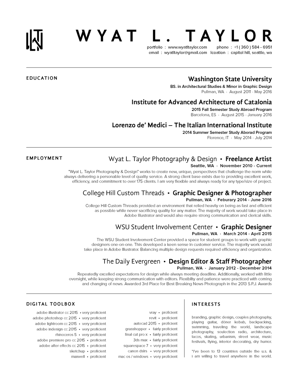 wyat l taylor photography graphic design resume resume 2016 png
