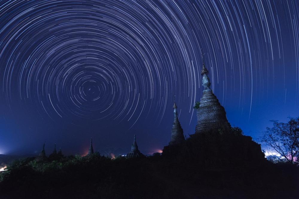 Star trails over stupas in Mrauk U. Myanmar.
